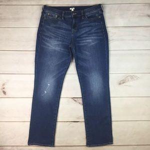 J. Crew Distressed Stretchy Slim Boyfriend Jeans